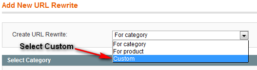 Select Custom URL Redirection
